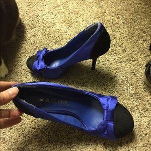 Blue Wild Diva Bow Heels